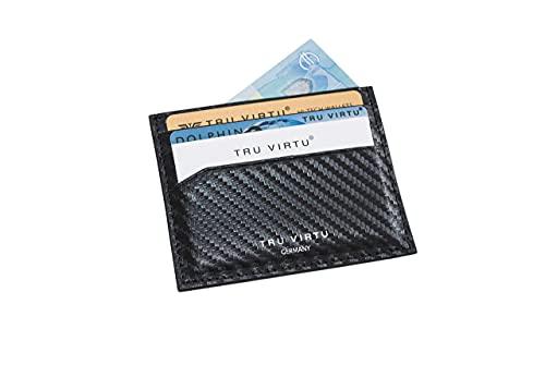TRU VIRTU® Funda ultrafina para tarjetas de crédito, protección RFID NFC, piel italiana auténtica, tarjetero, tarjetero, tarjetero, tarjetero