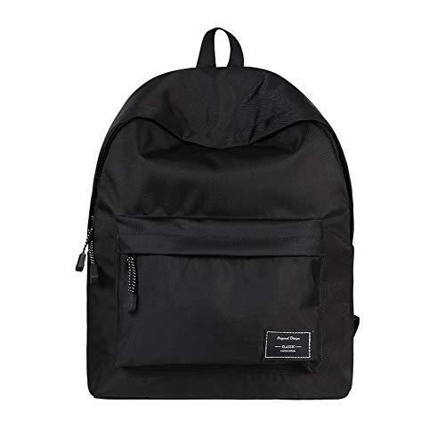 2021 Unisex Mochila Escolar, WAWJ Store Lona Mochilas Casual Bolsa de Viaje Mujer Juvenil Mochila para Ordenadores Portátiles de 14 Pulgada (Negro)