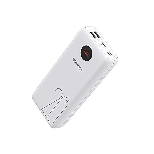 Romoss 18W Powerbank 20000mah Tipo-C PD QC3.0, Batería Externa para Móvil con Pantalla LED, Fit Charge⊕, 3 Salidas y 3 Entradas, para la Mayoría de los Smartphone, Tabletas
