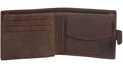 Amazon Brand - Eono - Cartera de Cuero sin Monedero para Mujer y Hombre con diseño Plano y protección contra Lectura RFID (Piel de napa Vacuno marrón) (Cuero marrón Vintage/Aspecto Usado)