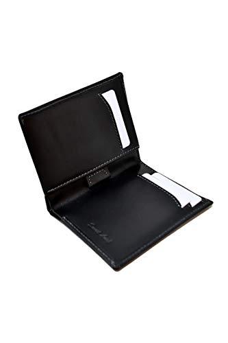 Cartera Billetera Delgada Negra para Hombre - Cuero Genuino Natural - Bloqueo RFID - 11 Tarjetas de Crédito, Monedero y Billetes - Slim, Clásico, Elegante y Moderno