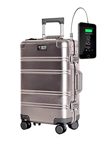 TOKYOTO - Maleta de Cabina 100% Aluminio Puro Metálica Juvenil Ultraligera Equipaje de Mano con Cargador USB, 80000mAh, 55x40x20 cm | Trolley de Viaje Ryanair, Easyjet | Rígida Siver Logo