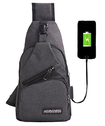 Mochila bandolera de pecho LemonGirl con cargador USB para hombres y mujeres, para senderismo,...