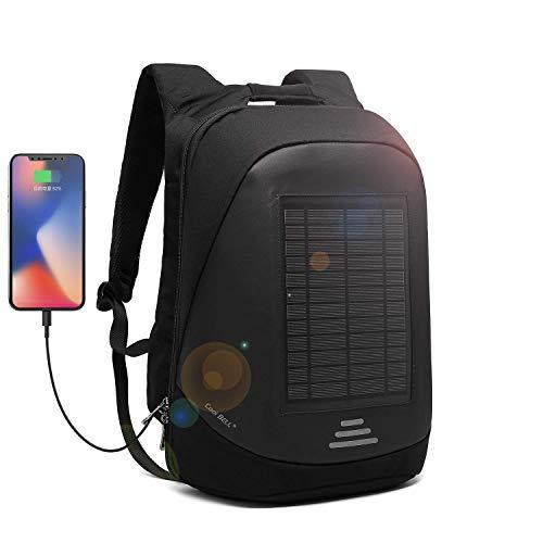 DTBG Mochila con Cargador Solar Mochila para portátil de 15.6 Pulgadas Multifunción Bolsa de Negocios antirrobo Mochila con USB Puerto de Carga para Viajes/Escolares/Exteriores (Negro)