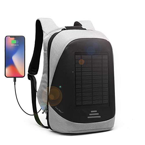 DTBG Mochila con Cargador Solar Mochila para portátil de 15.6 Pulgadas Multifunción Bolsa de Negocios antirrobo Mochila con USB Puerto de Carga para Viajes/Escolares/Exteriores (Gris)