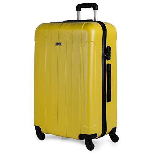 ITACA - Maleta de Viaje Grande XL Rígida 4 Ruedas Trolley 73 cm de ABS Lisa. Ligera Resistente. Gran Capacidad. Estilo y Marca. 771170, Color Amarillo