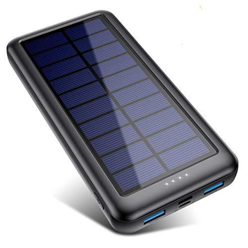 QTshine Cargador Solar con Entradas Tipo C & Mirco USB, Batería Externa Solar 26800mAh...