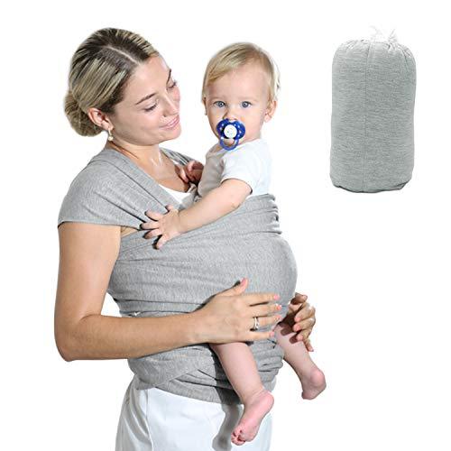 Fular Portabebés Elástico Gris Portador de Bebé, HyAdierTech Pañuelo de algodón, Porteo Seguro y Ergonómico Durante la Lactancia, Unisex, Para padres (B)