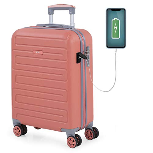 SKPAT - Maleta de Cabina para Viaje. Puerto para Cargador USB. 4 Ruedas Trolley 55 cm....
