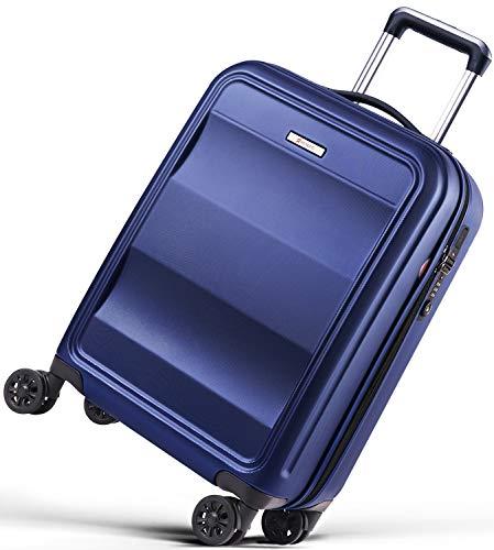 REYLEO Maleta Cabina Rígida 100% Policarbonato Equipaje de Mano con Puerto de Carga USB, Candado TSA, 4 Ruedas Silenciosas (55 X 35 X 20CM - 31.5L) - Azul