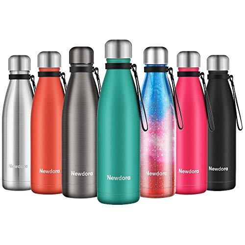 Newdora Botella de Agua Acero Inoxidable 500ml, Aislamiento de Vacío de Doble Pared,...