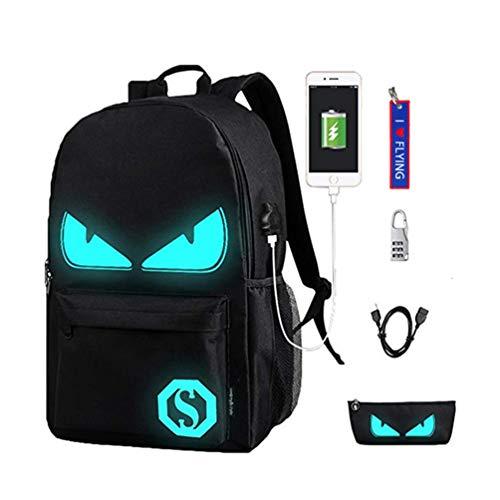 WYCY Anime Cartoon Luminous Backpack Mochila de Moda con Puerto de Carga USB y antirrobo Lock & Pencil Case, Mochila Escolar Unisex Bookbag con Bordado Llavero Colgante(Ojos del Diablo Negro)