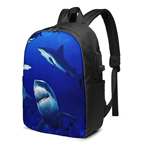 WEQDUJG Mochila Portatil 17 Pulgadas Mochila Hombre Mujer con Puerto USB, Tiburones Mochila para El Laptop para Ordenador del Trabajo Viaje