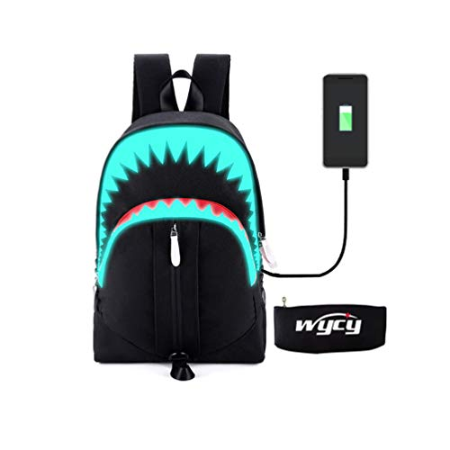 WYCY Tiburón Mochila Luminosa Mochila de Moda Para Niños con Puerto de Carga USB y Estuche de Lápices Luminoso, Unisex Mochila Escolar Fresca Mochila de Estudiante Realista (Tiburón de boca grande)