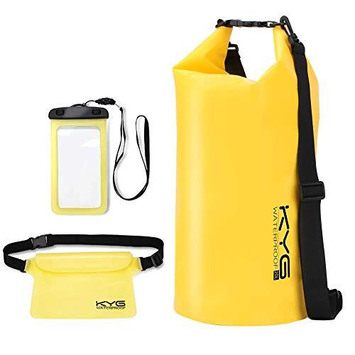 KYG Bolsa Estanca 20L Impermeable Seca Set de Bolsa Waterproof con Funda Táctil de Móvil y Bolsa Cintura para Playa y Deportes al Aire Rafting Kayak
