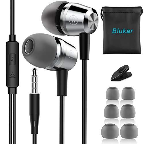 Blukar Auriculares In Ear, Auriculares con Cable y Micrófono Headphone Sonido Estéreo...