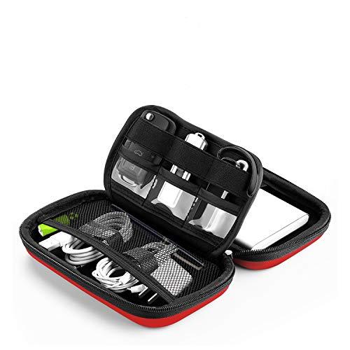 Bapack Funda Disco Duro Externo 2,5', Escuche para Cables Impermeable Bolsa de Cable Multifucional para Viaje Cables USB Power Bank Auriculares Tarjeta de Memoria- Rojo