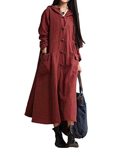 Romacci Primavera Otoño Mujer Vintage Vestido con Capucha de Manga Larga Casual Suelta...