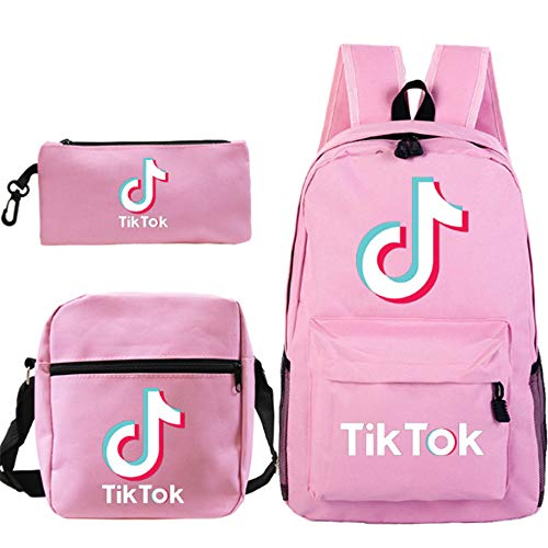 Petainer Combinación de TIK Tok mochila de 3 piezas, Bolsas de hombro y Estuche para lápices (Rosa)