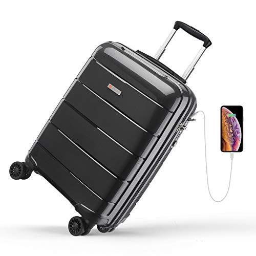 Reyleo - Maleta de cabina, maleta rígida, 4 x 2 ruedas, con puerto USB, cerradura TSA,...