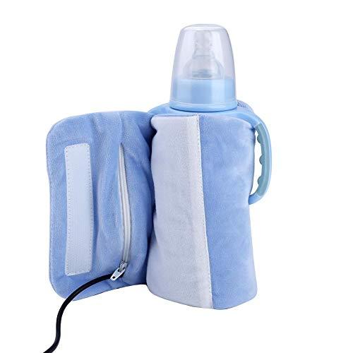 Tapa calefactada con biberón, USB Lavado removible portátil Taza de leche para bebés Calentador calentador Biberón infantil Bolsa de almacenamiento de calefacción, se calienta rápidamente(Azul)