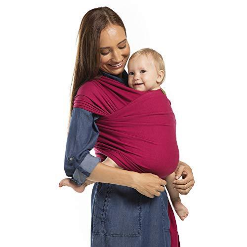 Boba Wrap - Fular Elástico Portabebé | Pañuelo Porteo Ergonómico, Bandolera Ajustable, Ideal Para Recién Nacidos, Color Sangría