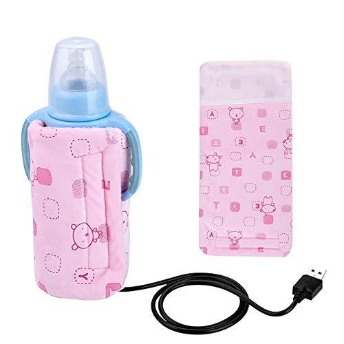Calentador de biberones electrónico USB, bolsa de aislamiento del calentador de calefacción, termostato de biberón con diseño de apertura de cremallera, calentador de leche desmontable (Rosado)