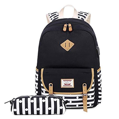 Neuleben Juego de 2 mochilas escolares y monederos con diseño de rayas, puerto USB, para niños, niñas, adolescentes, mochila escolar, 2019