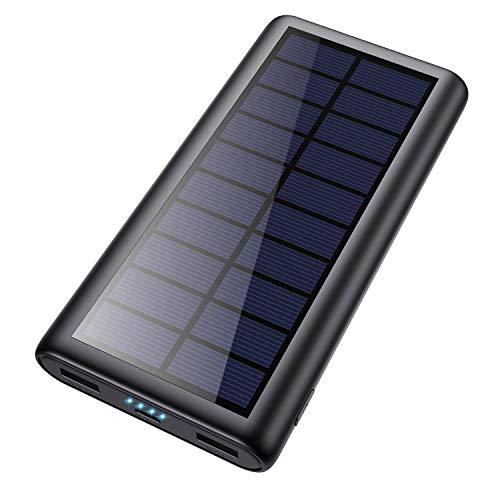 HETP Cargador Solar 26800mAh Batería Externa Power Bank con 2 USB Puertos de Salida...