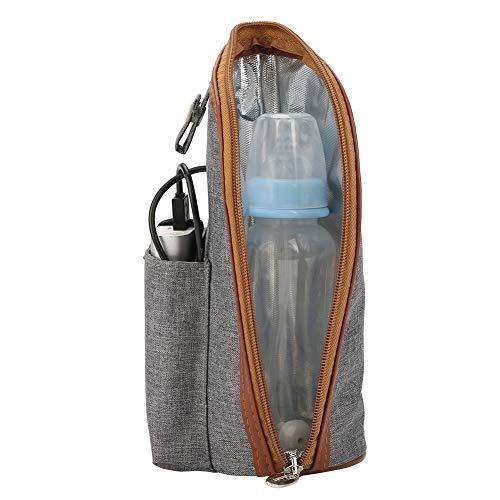 Calentador de biberones portátil con calefacción USB, bolsa de asas para portador de biberones con aislamiento Bolsa de almacenamiento de biberones para bebés para viajes de compras en automóvil
