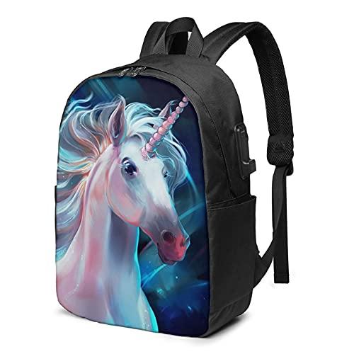 Mochila de unicornio realista, mochila de viaje para portátil con puerto de carga USB para hombres y mujeres de 17 pulgadas, Negro, talla única