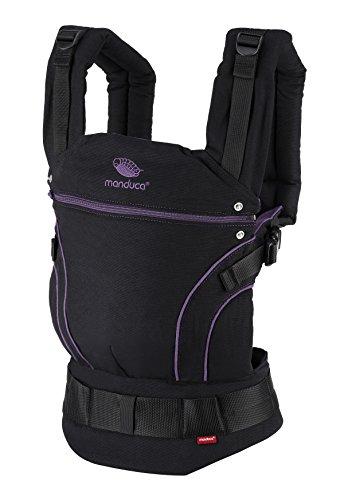 manduca First Baby Carrier  BlackLine Midnight Purple  Mochila Portabebes con Cinturon Ergonomico & Extension de Espalda, Algodón Orgánico, para bebés de 3,5 a 20 kg (negro-púrpura/violeta)