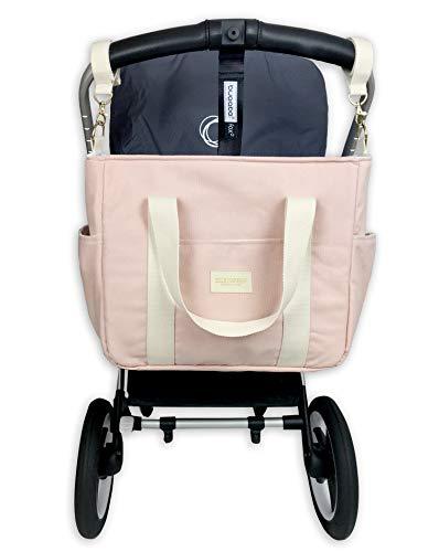 ESLESGREEN Bolsa Maternal de Pañales - Bolso cambiador para carrito algodón orgánico (PINK)