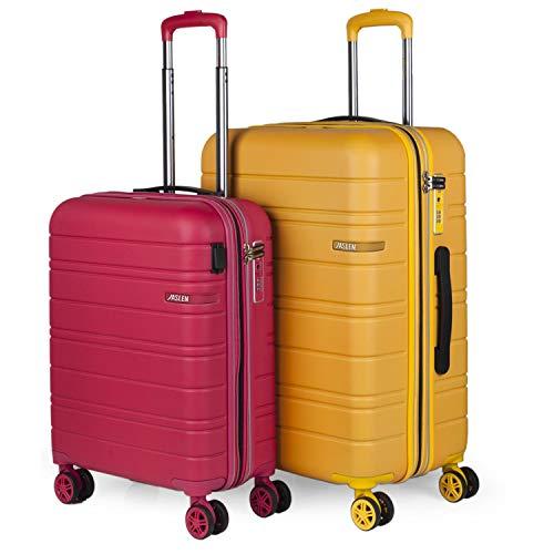 JASLEN - Juego de Maletas Rígidas de Viaje 4 Ruedas con USB Trolley ABS. Extensibles...