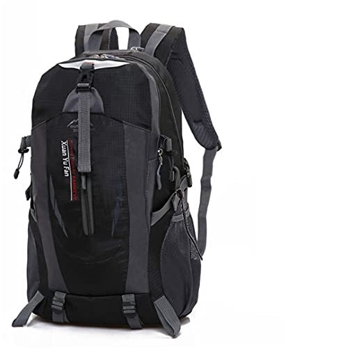 RatenKont Deportes al Aire Libre Bolsas para Acampar Mochilas Escolares Mochila Viaje 35-40L Senderismo Bolsa Nylon Impermeable Black USB
