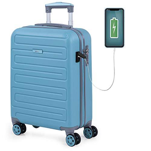 SKPAT - Maleta Cabina Avion Pequeña con Ruedas Rígida [Extensible] Hombre Mujer.[ Conexión para Carga USB]. 4 Ruedas Trolley. Equipaje de Mano. Candado TSA 175050, Color Turquesa
