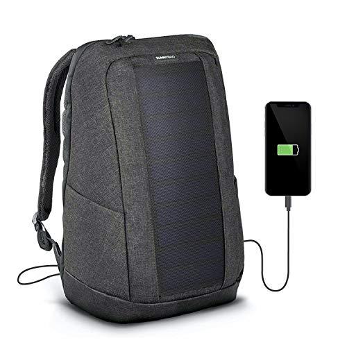 SunnyBAG Iconic Mochilla Solar para Laptop, Panel Solar de 7 vatios, Cargador de Smartphones (Samsung, iPhone, etc.), Tablet, smartwatch + USB y Dual-USB-Port (Graphite)