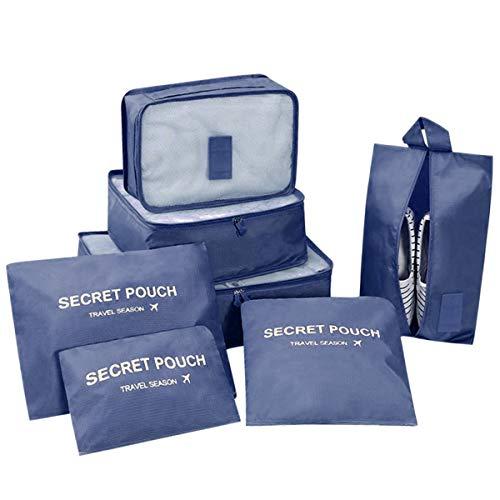 DoGeek- 7 en 1 Set de Organizador de Equipaje Viaje con Bolsa de Zapato,Impermeable Organizador de Maleta Bolsa para Ropa Sucia de Viaje, Material Nylon