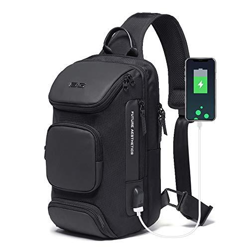 OZUKO Sling Bag Crossbody Bolsos Bandolera Hombre, Bolsa Antirobo de Hombro Bandoleras Cruzada con USB Bolsa de Mochila Sling Bag para Negocio Ciclismo Viaje (Negro 1)