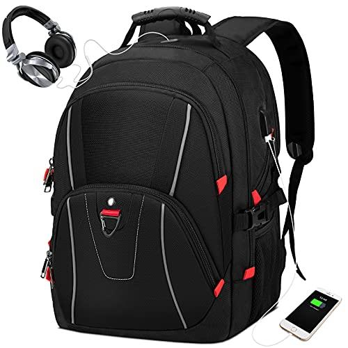 NEWHEY Mochila Hombre Mochila Portatil 17.3 Pulgadas con Puerto USB Mochilas Escolares Multifuncional Grande Trabajo Ordenador Viaje Mujere Mochilas Negro