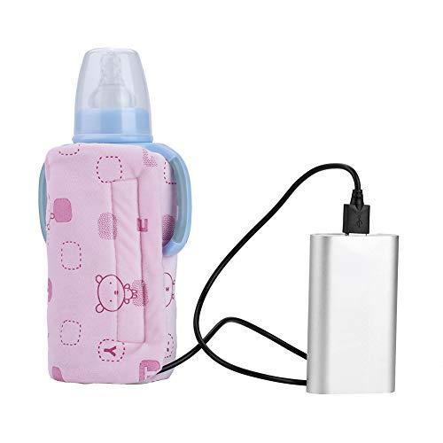 Calentador Calentador de La Botella de Leche Usb Mantenga La Leche de Bebé o Agua Taza de Té de Café Multifunción Cálida Bolsa de Calentamiento de La Bebida(Pink)