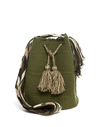 Bolso Wayuu Artesanal, Verde Militar, Original De Colombia