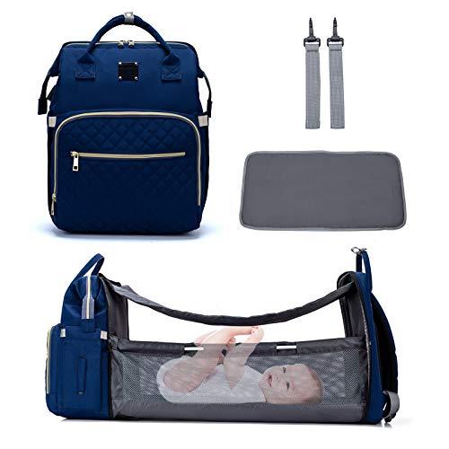 Mochilas de Pañales Plegable para Bebé - Maternal Bolso Multifunción con USB de Viaje, Gran Capacidad, Impermeable, Enviar 2 Correas de Cochecito y 1 Cambiador - azul