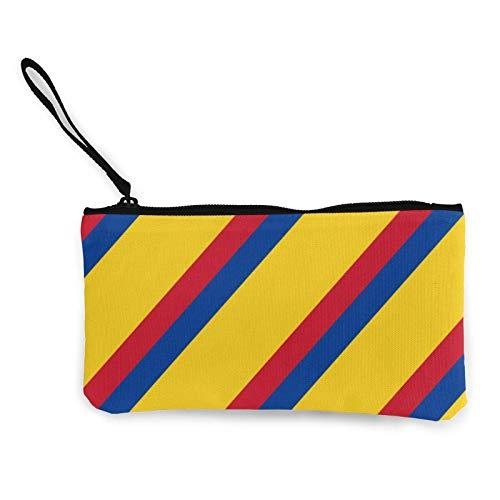 Bolso colorido de los cosméticos de la bandera colombiana con la correa de la muñeca...