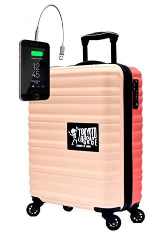 TOKYOTO - Maleta de Cabina Equipaje de Mano Juvenil Adulto Niños con Cargador USB, 8000mAh, 55x40x20 cm | Trolley de Viaje Ryanair, Easyjet | Maleta de Viaje Rígida Divertida Beige Coral
