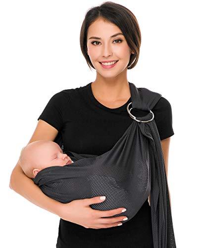CUBY Fular Portabebé Unisex, Un Tamaño para Todos - Porta bebé para Madre y Padre - Calidad superior, Multiuso: Portador, Manta para Lactancia, Canguro, Cinturón posparto (Gris)