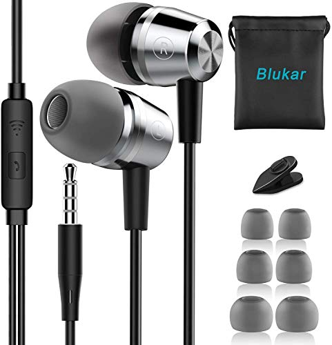 Blukar Auriculares In Ear, Auriculares con Cable y Micrófono Headphone Sonido Estéreo para Galaxy,...