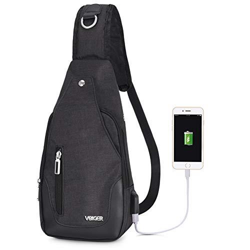 Vbige Mochila Cruzada USB Recargable Mochila para Colgar en el Pecho Casual Bolsa para...