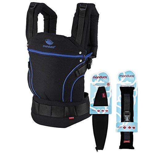 manduca First Portabebe  BlackLine AbsoluteBlue  Mochila Portabebe más Accesorios Size-It & Zip-In Ellipse, Algodón Orgánico, para Bebés de 3,5 a 20 kg (Set Recién Nacidos/negro-azul)