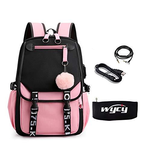 WYCY Girl Hair Ball Mochila 35L Gran Capacidad Oxford Cloth School Bag Estuche de lápices Luminoso con Carga USB y Puerto para Auriculares (Mochila de Bolas de Piel Negro Rosa)